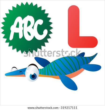 Cute cartoon Water Dinosaurs ABC: L is for Libonectes - stock vector