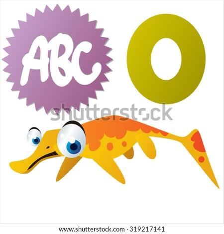 Cute cartoon Water Dinosaurs ABC: O is for Omphalosaurus - stock vector