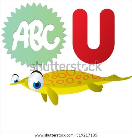 Cute cartoon Water Dinosaurs ABC: U is for Utatsusaurus - stock vector