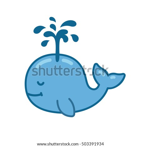 cute cartoon whale drawing with water fountain hand drawn vector illustration