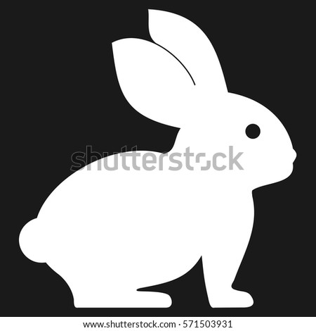 Cute Cartoon White Easter Bunny Silhouette Icon On Dark Background Vector Illustration
