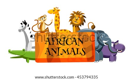 cute cartoon wild Africa animals in flat style. Giraffe, elephant,zebra, monkey, lion, crocodile, hippo  isolated on white background with place for text. Vector illustration - stock vector