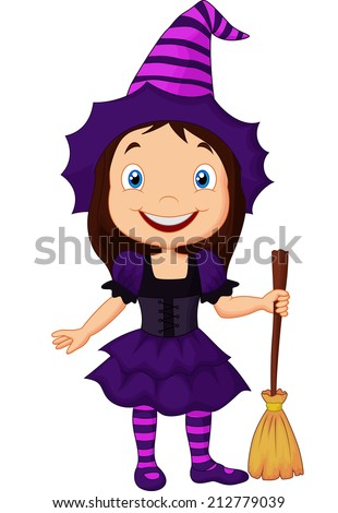 Cute cartoon witch - stock vectorCute Cartoon Witch