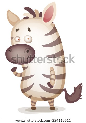 Cute Cartoon Zebra - stock vector