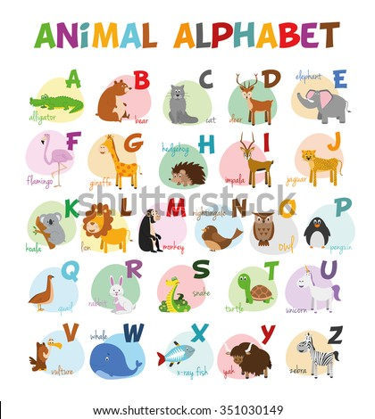Cute cartoon zoo illustrated alphabet with funny animals. English alphabet. Learn to read. Isolated Vector illustration. - stock vector