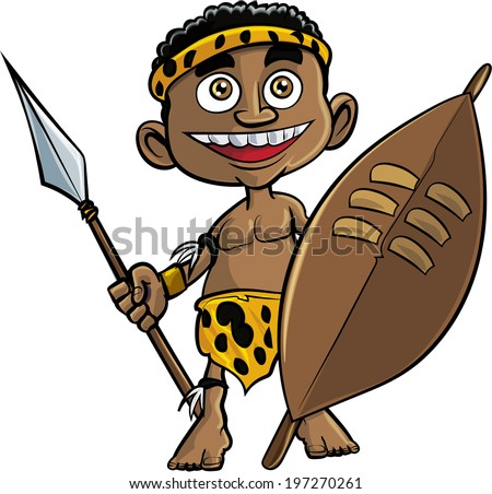 Cute cartoon zulu warrior. Isolated on white - stock vector
