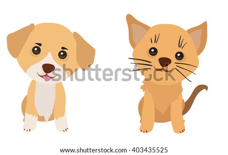 Cute cat and dog. Funny cartoon vector animals on transparent background.  - stock vector