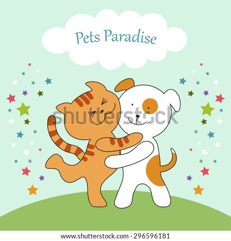 Cute Cat and Dog union can be used for veterinary clinic, pet shop or pets hotel banner, etc - stock vector