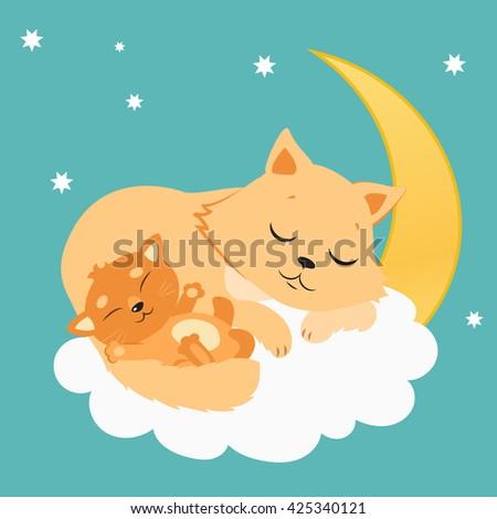 Cute Cat And Kitten Sleeping On The Moon. Sweet Kitty Cartoon Vector Card. Good Night Vector Illustration. - stock vector