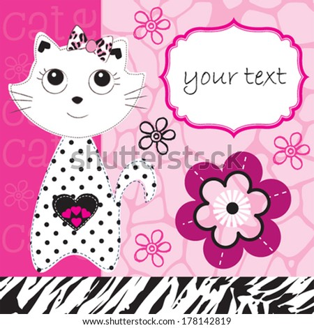 cute cat animal pattern invitation card vector illustration - stock vector