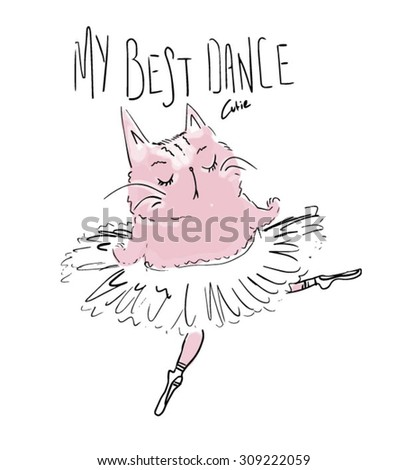 cute cat ballet - stock vector