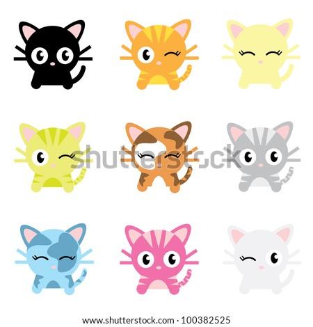 Cute Cat Characters - stock vector