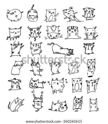cute cat collection - stock vector