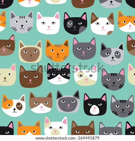 Cute Cat Faces Seamless Repeating Pattern - stock vector