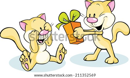 cute cat giving gift - funny illustration on white background - stock vector