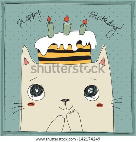 Cute cat, happy birthday card - stock vector