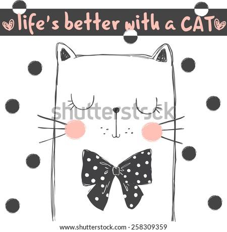 cute cat  illustration for apparel - stock vector