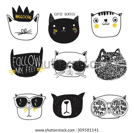 cute cat illustration series - stock vector