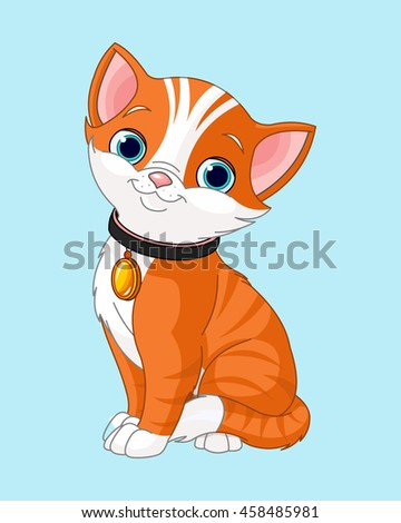Cute cat, Little  kitten with belt sitting. Characters. Vector Illustration. - stock vector