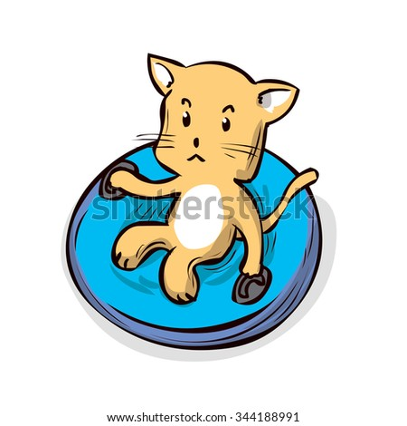 Cute Cat On Snow Tube Hand Stock Vector 344188985 - Shutterstock