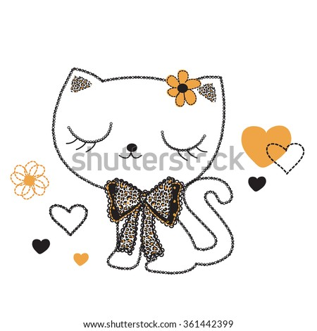 cute cat on white background vector illustration - stock vector