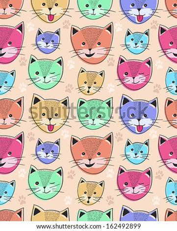 cute cat seamless pattern for children - stock vector