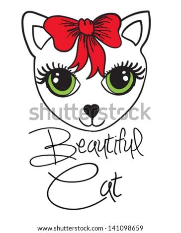 cute cat/T-shirt graphics/cute cartoon characters/cute graphics for kids/Book illustrations/textile graphic/graphic designs for kindergarten/cartoon character design/fashion graphic/cute wallpaper - stock vector