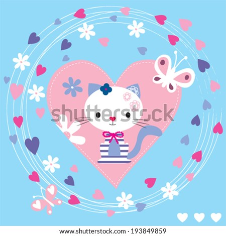cute cat with butterfly vector illustration - stock vector