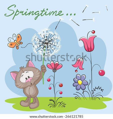 Cute Cat with dandelion on a meadow  - stock vector