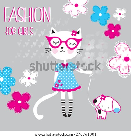 cute cat with dog and flowers, fashion for girls, T-shirt design vector illustration - stock vector