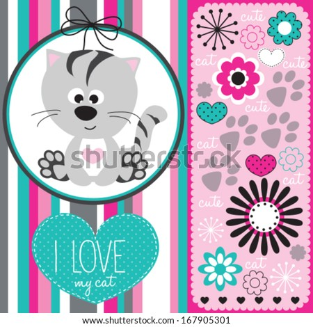 cute cat with floral pattern vector illustration - stock vector