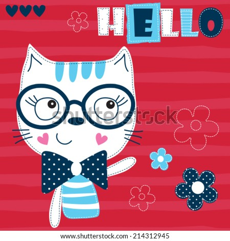 cute cat with flower vector illustration - stock vector