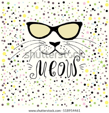 Cute cat with glasses,Hand drawn  T-shirt design or greeting card,vector illustration