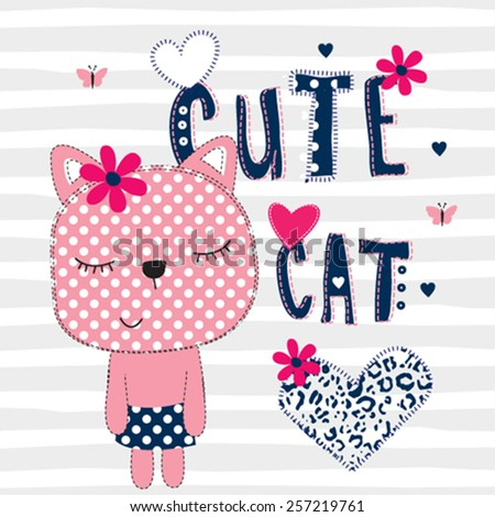 cute cat with heart on striped background vector illustration - stock vector
