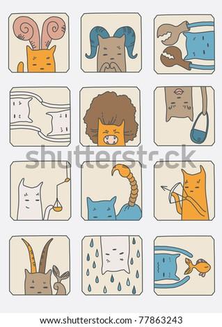 Cute cats - set of zodiac symbols - stock vector