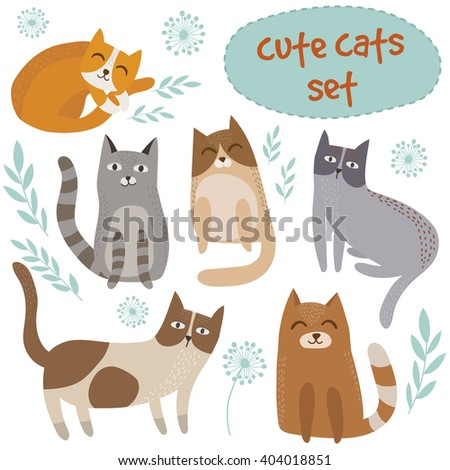 Cute cats set - vector illustration with cute hand drawn cats