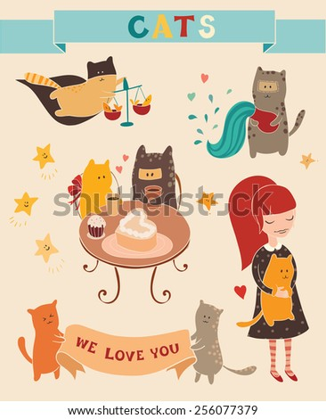 Cute cats set. Vector trendy illustrations. Stickers, card, poster, hand drawn style. - stock vector