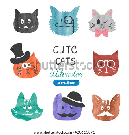 Cute cats set. Watercolor cats heads isolated on white. Vector illustration. Funny cats collection.  - stock vector
