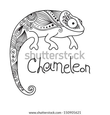 Cute chameleon in ethnic style. Vector illustration. - stock vector