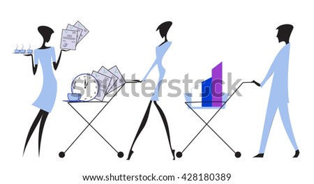 Cute character business people with flat design style. - stock vector