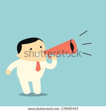 Cute character businessman with megaphone, business concept in making announcement.
