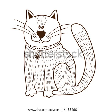 Cute character. Cat with heart on collar. Sketch vector element for romantic design - stock vector