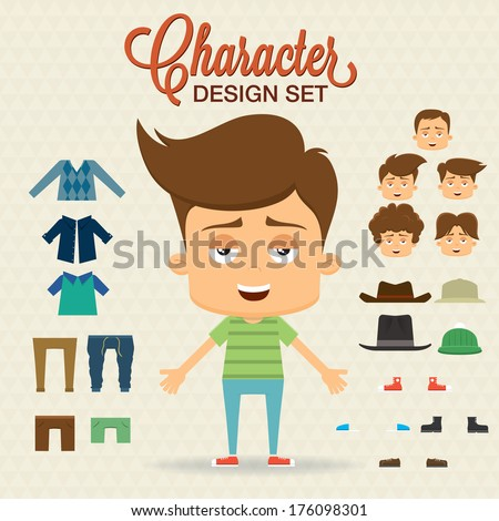 Cute character design with elements, accessories,clothes. Prepared for animation - stock vector