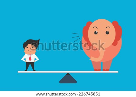 Cute character of businessman standing balance with big elephant, business concept in one person can equal or compare to big mass as elephant. Flat design.  - stock vector