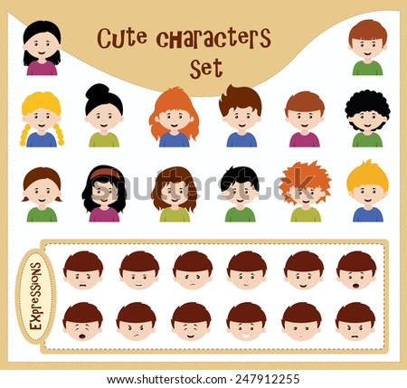 cute character set with various expressions usable for each character - stock vector