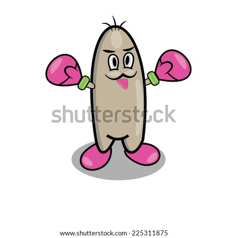 Cute character with pink mittens - stock vector