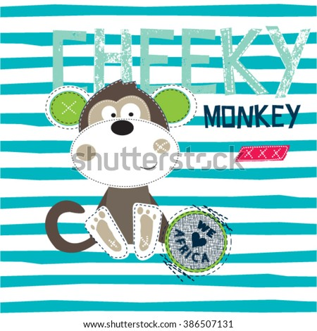 cute cheeky monkey on striped background, T-shirt design for boys vector illustration - stock vector