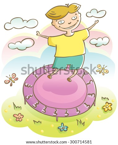 cute cheerful boy jumping on the trampoline - stock vector