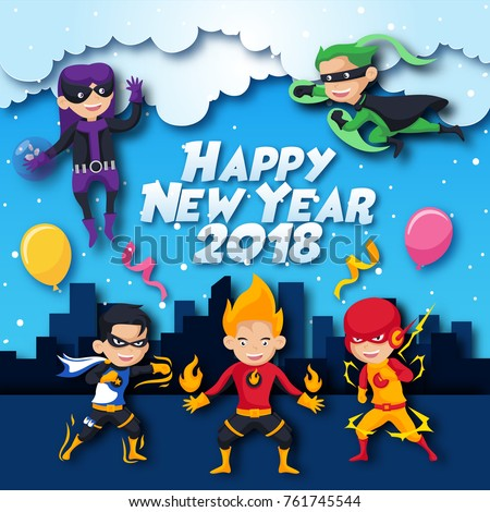 cute cheerful kids superhero theme happyのベクター画像素材 761745544