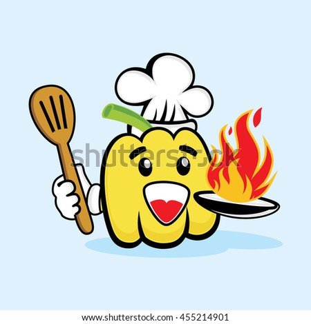 Cute Chef Yellow Paprika With Hot Fire